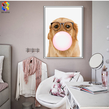 Kawaii Dog Bubble Nordic Canvas Art Print Poster, Wall Picture for Home Decoration, hogar Decor Painting