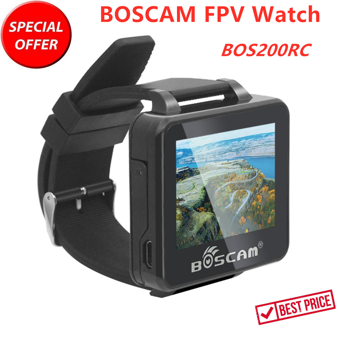 Update BOSCAM BOS200RC FPV Watch 200RC 5.8GHz 48CH HD 960*240 2 Inch TFT Monitor Wireless AV Receiver For FPV RC Quadcopter