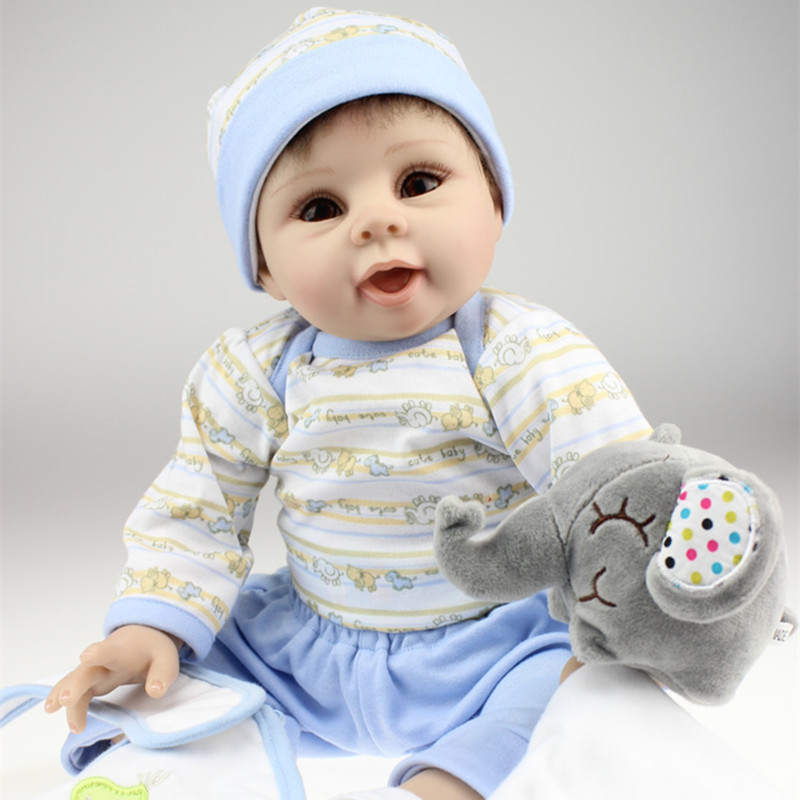 50 55 CM Realistic Silicone Newborn Baby Dolls For Baby Boys Big Eyes Lifelike Reborn Baby