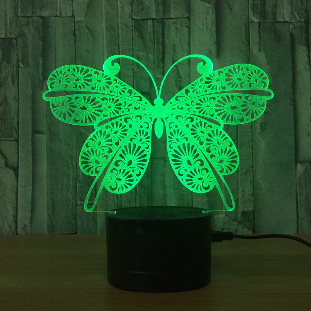 LED Cool Colorful 3D Butterfly Decorative Table Lamp USB Cartoon Novelty Night Light Childs Birthday/Christmas Gift IY803192