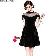 c6ef016638 CWBshowGG New slim designer dresses runway 2018 high quality thin mesh  patchwork luxury brand velvet black mini vestidos dress