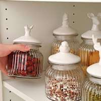 Simple deer sealed jar animal cute candy jar dried fruit grain glass crystal with lid honey jar cereal container housewares CL12
