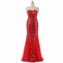 100% echt Bild Vorrätig Sweetheart Ausschnitt Red Lange Abend kleid Pailletten Formales Abschlussball-abendkleid Plus Größe Müssen Extra gebühren