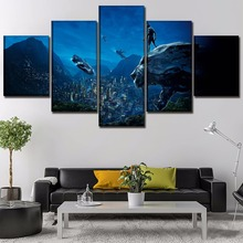 Modern Wall Art Decorative Artwork 5 Pieces Movie Black Panther Poster For Living Room Or Bedroom Canvas HD Printed Painting