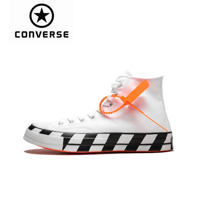 Converse Chuck 70 Hi Off White Off White Classic Skateboarding Shoes Unisex Canvas Anti Slippery Sneakser