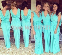 Hot Sale Sexy V Neck Long Floor Length Chiffon Bridesmaid Dresses Cheap From China Custom Made MG153