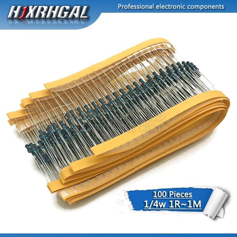 100pcs 1/4W Metal Film Resistor Hjxrhgal 100R 220R 330R 1K 1.5K 2.2K 3.3K 4.7K 10K 22K 47K 100K 100 220 330 1K5 2K2 3K3 4K7 Ohm
