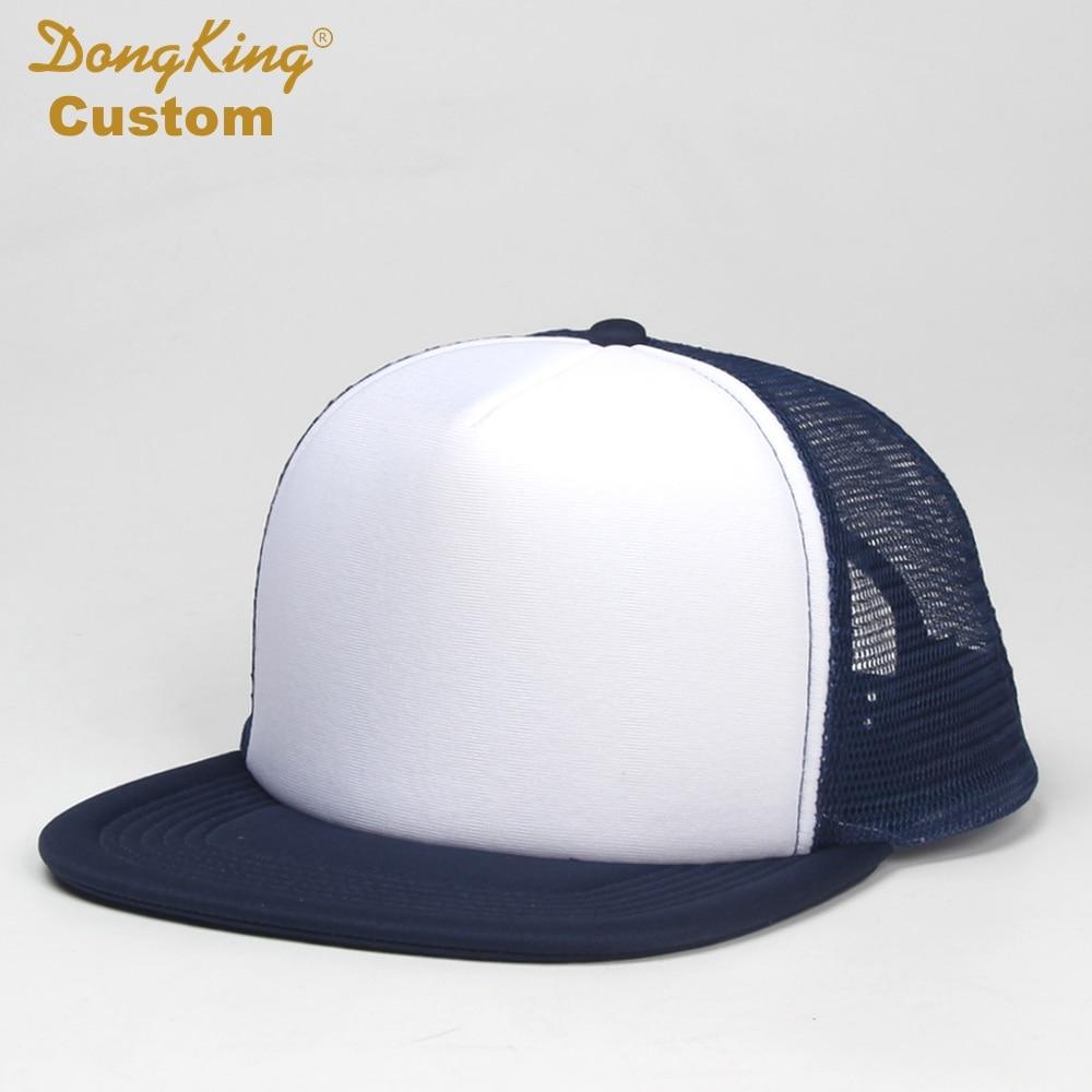 9a0642f9d2b54 Custom Trucker Hat Flat Bill Visor Free Logo Men Women Summer Snapback Caps  Sports Team Group Name Picture Print Free Shipping