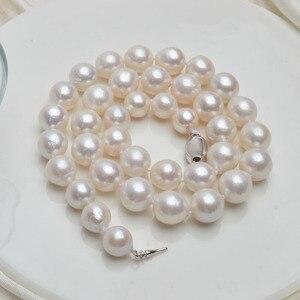 Image 3 - ASHIQI 10 12mm duża naturalna perła słodkowodna naszyjnik dla kobiet prawdziwa 925 Sterling srebrna zapinka biała okrągła perła biżuteria prezent