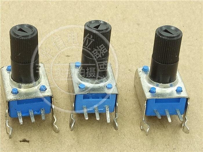 Оригинальный новый 100% 09 тип горизонтальный смеситель с одним Соединенным потенциометром B33K B500K B2K длина ручки 13 мм синий цветок (переключате...