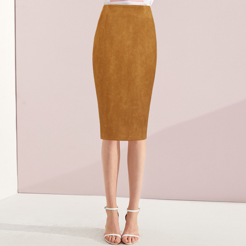 Women's High Waist Suede Skirt Pencil Knee Length Leather Suede Skirts Women Vintage Midi Brown Skirt Khaki Winter Office Wear