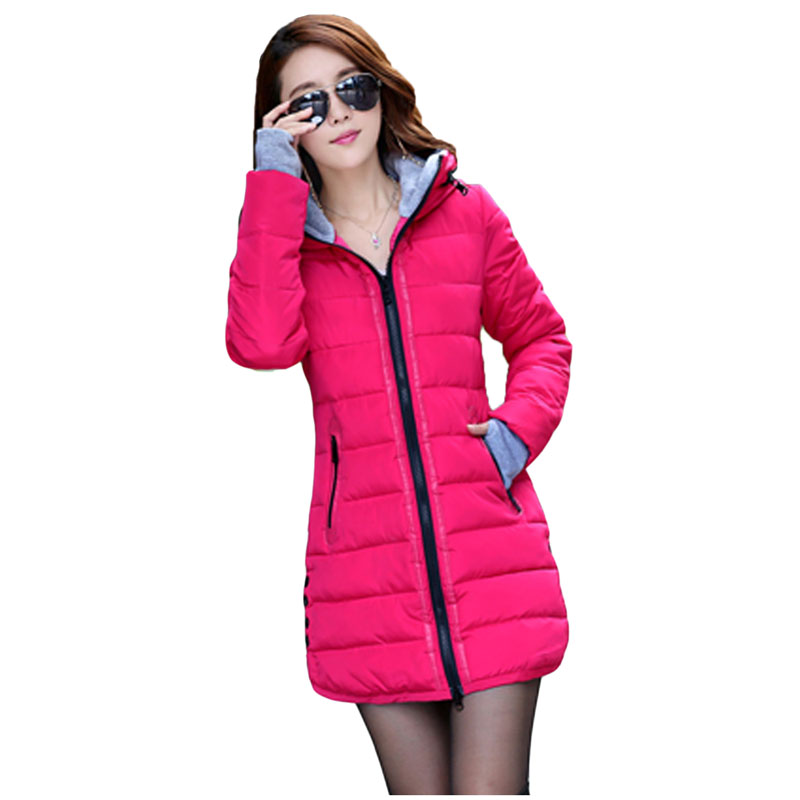 2017 Winter new Korean version long sleeved hooded women Parkas fashion Slim long style solid color