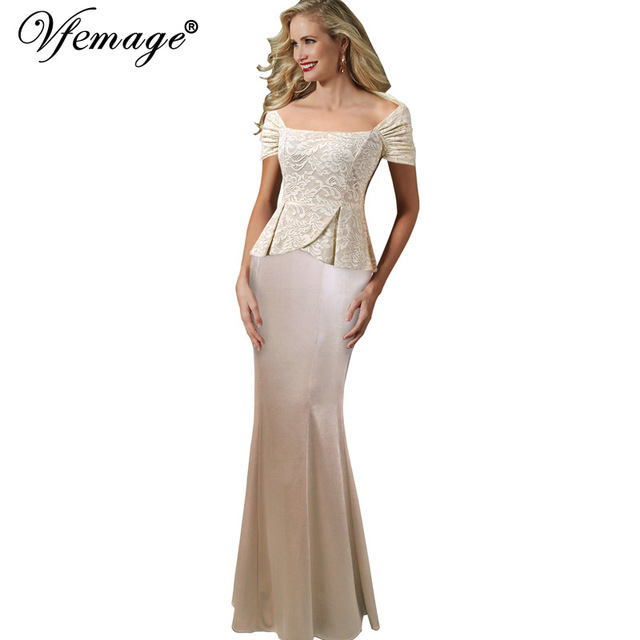 c8d71dc1cd US $29.49 |Vfemage Women Elegant Portrait Collar Lace Peplum Formal Evening  Gown Mother of the Bride Prom Wedding Party Maxi Long Dress 097-in Dresses  ...