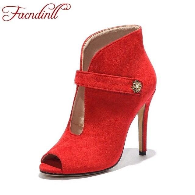 Facndinll лето-осень женские ботильоны на шпильке пикантные туфли с  открытым носком Обувь на высоком 5e3cf10faa2