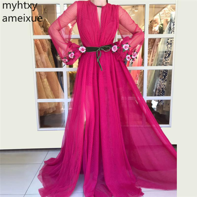 2019 New Sexy Red Full Evening Dresses Floor-length Long Tulle Simple Natural Plus Size A-Line Gown For Women Robe De Soiree