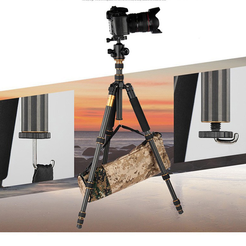 QZSD Q666C Professional Photographic Portable Tripod Monopod with Ball Head For SLR DSLR Camera DV / Stand to Camera / Fold 35cm aluminium alloy professional camera tripod flexible dslr video monopod for photography with head suitable for 65mm bowl size