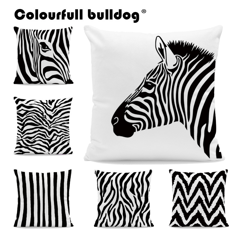 Black Zebra Throw Pillow Cases Geometry