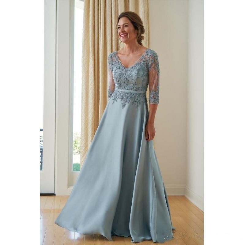 Formal 2019 Mother Of The Bride Dresses A-line V-neck 3/4 Sleeves Chiffon Appliques Groom Long Mother Dresses For Wedding