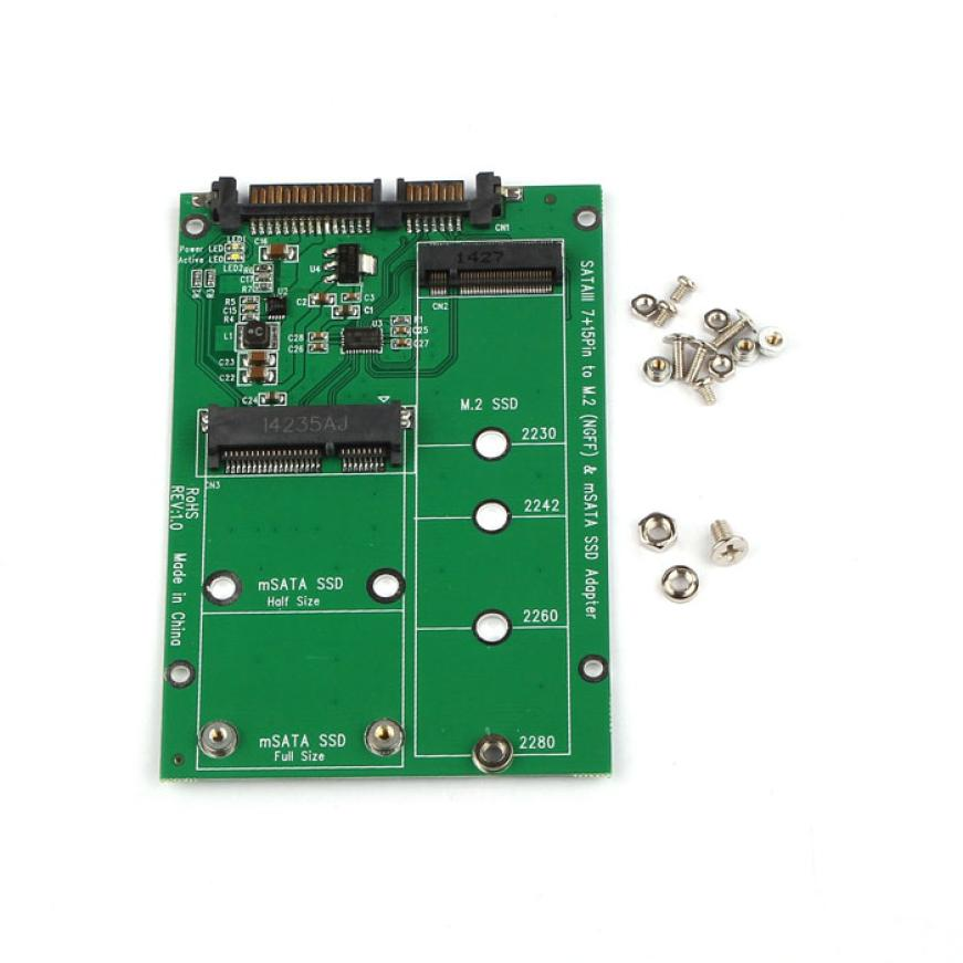 Factory Price MOSUNX 2 in 1 Mini PCI-E 2 Lane M.2 And mSATA SSD To SATA III 7+15 Pin Adapter Drop Shipping Free Shipping
