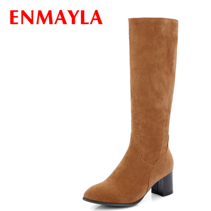 ENMAYLA New Women Large Size 34-46 Mild-calf Boots for Women High Heels Round Toe Zippers Winter Warm Boots Platform Shoes enmayla ankle boots for women low heels autumn and winter boots shoes woman large size 34 43 round toe motorcycle boots