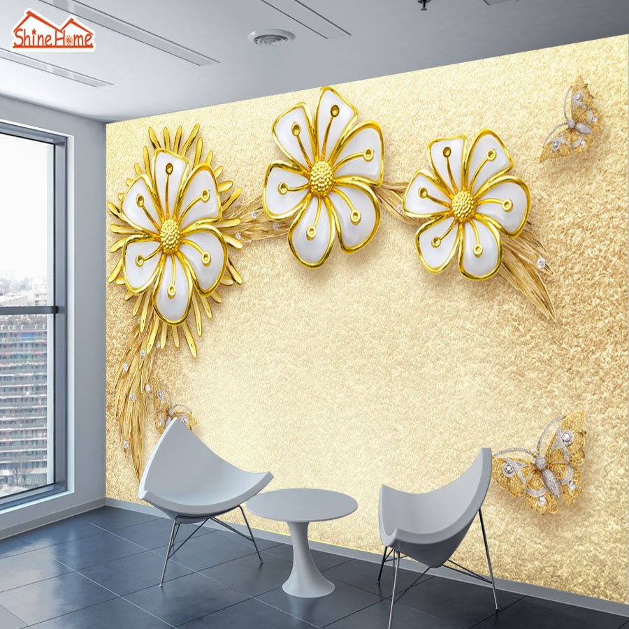 ShineHome-Custom Gold Sunflower Luxurious European Floral Wallpapers 3 d Wall Paper Wallpaper Mural Roll for Living Room Walls 3d floral wallpapers non woven bedroom wall paper roll living room wallpaper for walls modern 3d wallpaper mural wallcovering