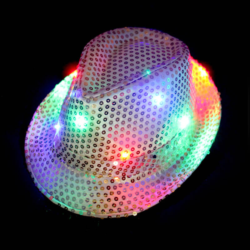 2018 niños niño niña resplandor LED iluminado intermitente sombrero Fedora  Cap lentejuelas Jazz sombreros boda decoración Hallowmas 1802e198fc7