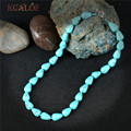 KCALOE Handmade Healing Blue Turquoise Chocker Necklace Bohemian Jewelry Fashion Water Drop Natural Stone Necklaces For Women
