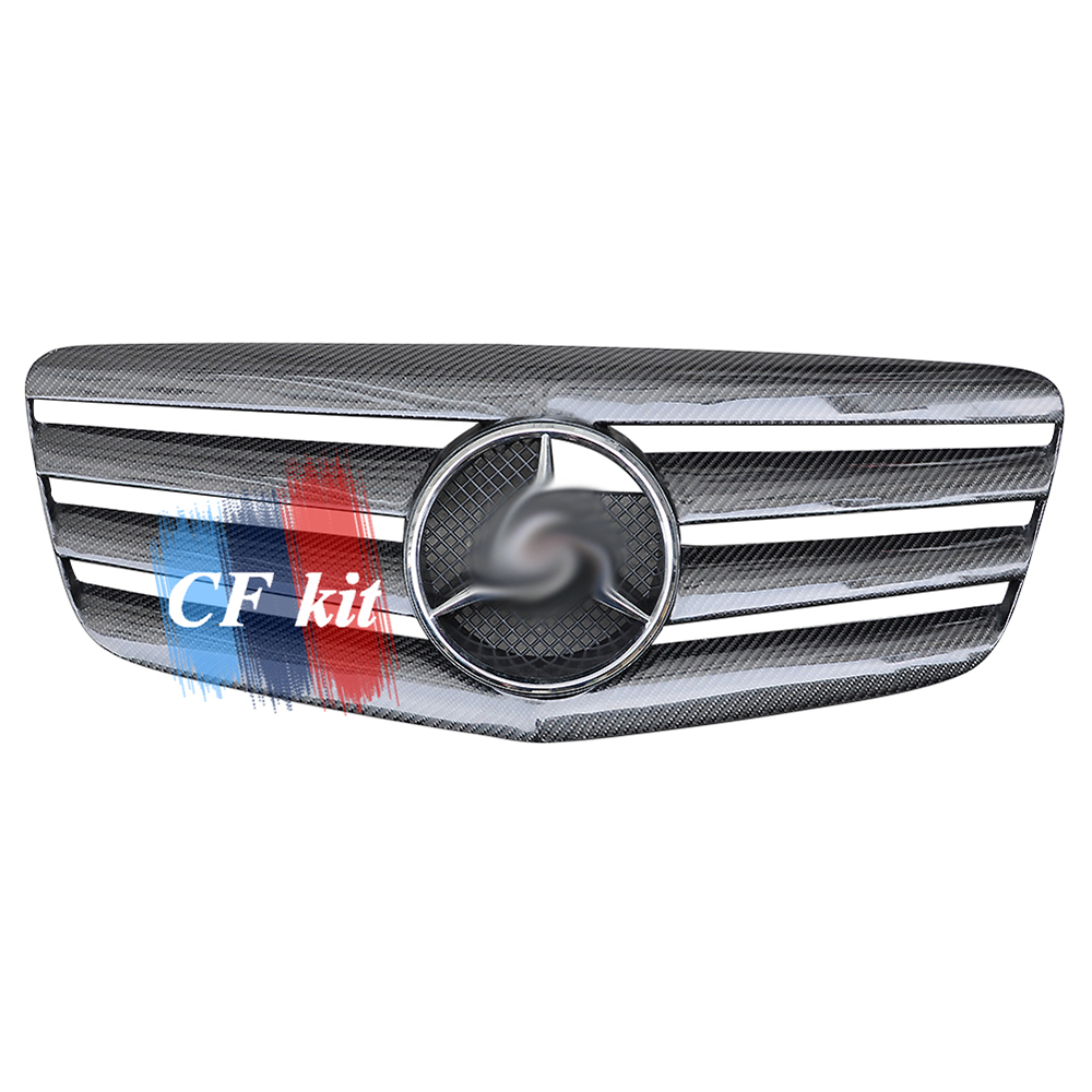 CF Kit Good Quality Car Front <font><b>Grill</b></font> Grilles For <font><b>Mercedes</b></font> Benz <font><b>W211</b></font> 2007-2008 Real Carbon Fiber Racing <font><b>Grills</b></font> Car Styling image