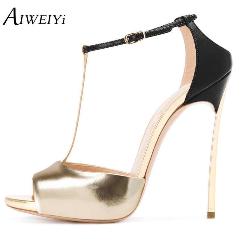 AIWEIYi Women High Heels Sandals Shoes Woman Gold Pink Party Wedding Ladies Pumps Ankle Buckle Strap Stilettos Heels Sexy Shoes super high heels ladies sexy elegant platform sandals buckle strap open toe cover heel stilettos thin pumps party wedding shoes