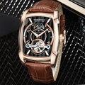 Мужские часы с автоматическим турбийоном  деловые повседневные наручные часы с кожаной фазой Луны  роскошные брендовые механические часы  ...