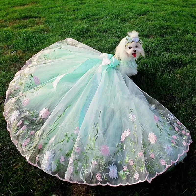 OnnPnnQ Dog Dress Gorgeous Embroidered Tutu Dresses Handmade Pet Luxury Trailing Wedding Skirt Bow Dog Clothes Chihuahua PoodleOnnPnnQ Dog Dress Gorgeous Embroidered Tutu Dresses Handmade Pet Luxury Trailing Wedding Skirt Bow Dog Clothes Chihuahua Poodle