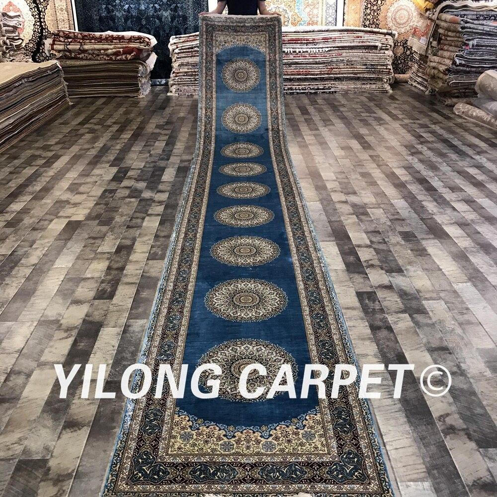 Yilong 2.8 'x18' entrée fait à la main style persan tapis de soie coureurs couloir designer tapis (S174A-2.8x18)