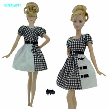 Classical Dress With Tartan Design Toy Outfit Shoes British Style Costume Clothes For Barbie FR Kurhn Doll Accessories xMas Gift