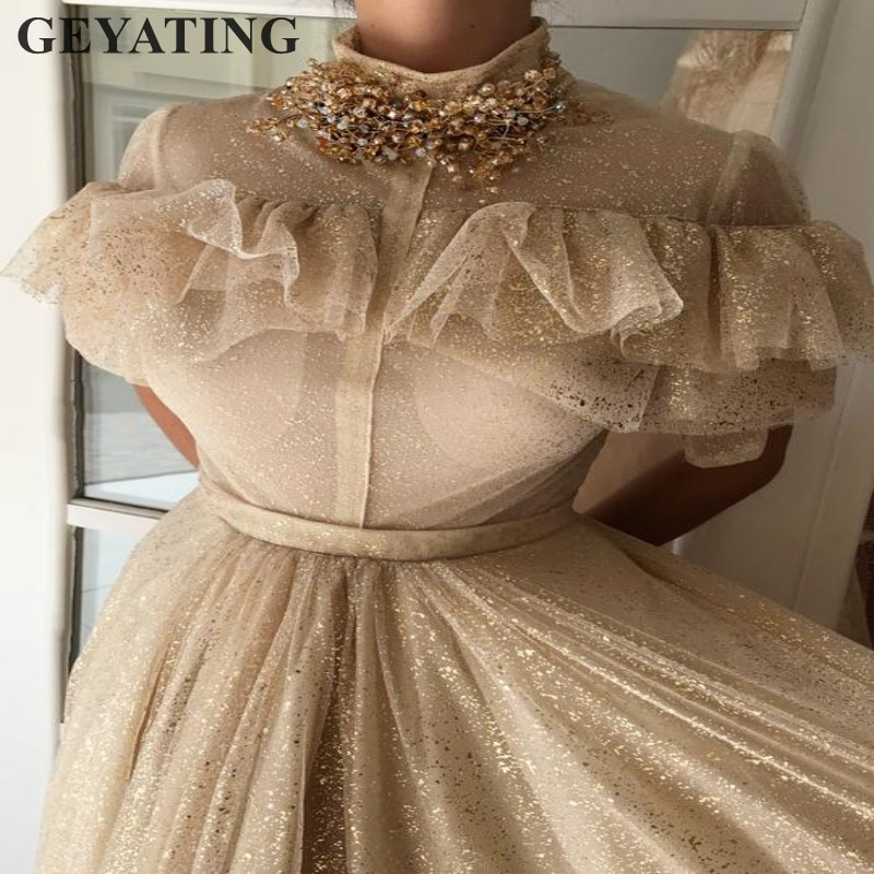 Glitter Champagne Gold Arabic   Evening     Dress   2019 Elegant High Neck Crystal Beaded Long Formal Prom   Dresses   Women Party Gowns