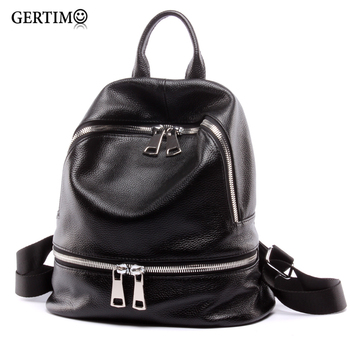 Fashion 2019 Women 100 %Genuine Leather Designer Backpack Black Female Small Travel Backpack For Teenage Girls ;Sac A Dos Femme fashion genuine leather backpack women 2019 sac a dos schoolbag for teenage girls waterproof bag travel purse female brand