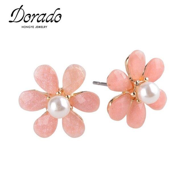Dorado Beautiful Clover Flower Crystal Stud Earrings For Women Jewelry White Pearl Online