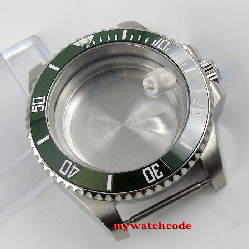40mm sapphire glass green ceramic bezel Watch Case fit 2824 2836 MOVEMENT C99 цена и фото