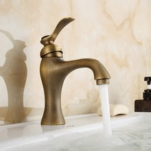 Basin Faucet Antique Brass Single Handle Bathroom Vanity Sink Faucet Basin Deck Mount Mixer Tap KD730 free shipping luxury swan design antique brass finish faucet bathroom basin mixer single handle countertop basin tap gi61