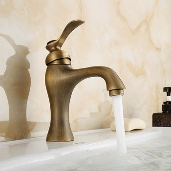 Basin Faucet Antique Brass Single Handle Bathroom Vanity Sink Faucet Basin Deck Mount Mixer Tap KD730 everso newly bathroom basin sink faucet waterfall widespread chrome polish single handle single hole mixer tap deck mount