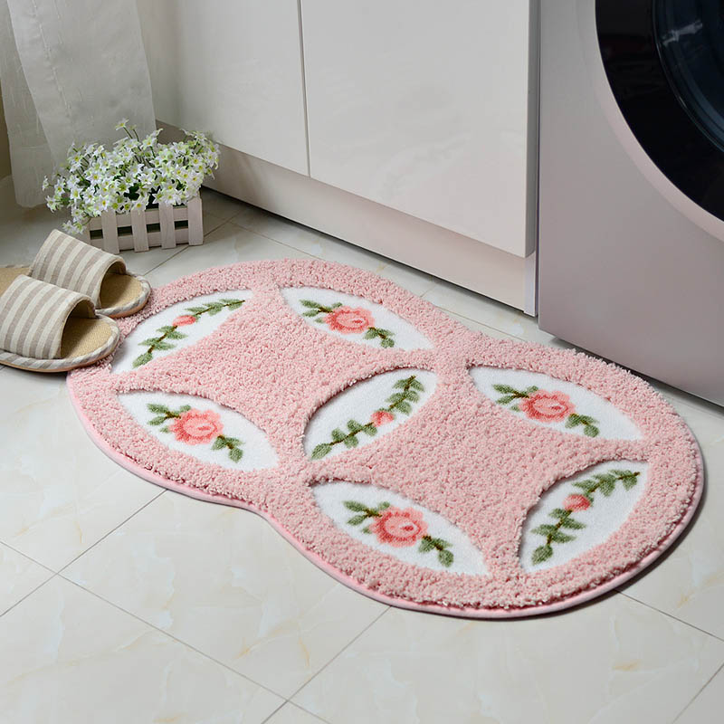 soft fleece rose door mat living room carpet jacquard sofa floor bathroom mats doormat carpets anti - Bathroom Mats