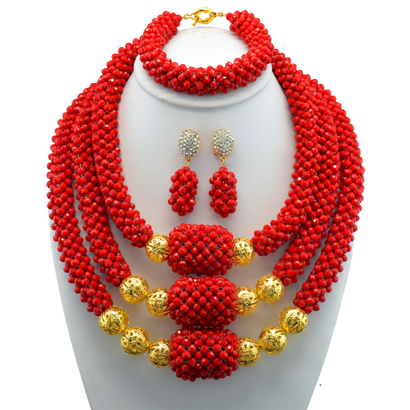 Delicate 3 Layers Red Crystal Nigerian Wedding African Beads Jewelry Set Dubai Crystal Beads Bridal Christmas Jewelry Set WB840Delicate 3 Layers Red Crystal Nigerian Wedding African Beads Jewelry Set Dubai Crystal Beads Bridal Christmas Jewelry Set WB840