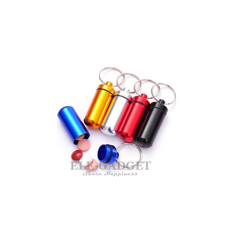 5pcs Waterproof Portable Mini Pill Box Capsule Holder Emergency Kits Storage Box With Keychain Aluminum Bottle