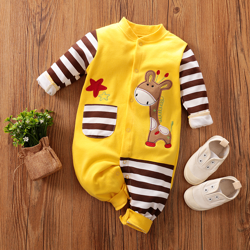 PatPat Spring  Autumn Cotton Baby Giraffe Pocket Design Jumpsuit Newborn Romper Pajamas Striped Single-breasted