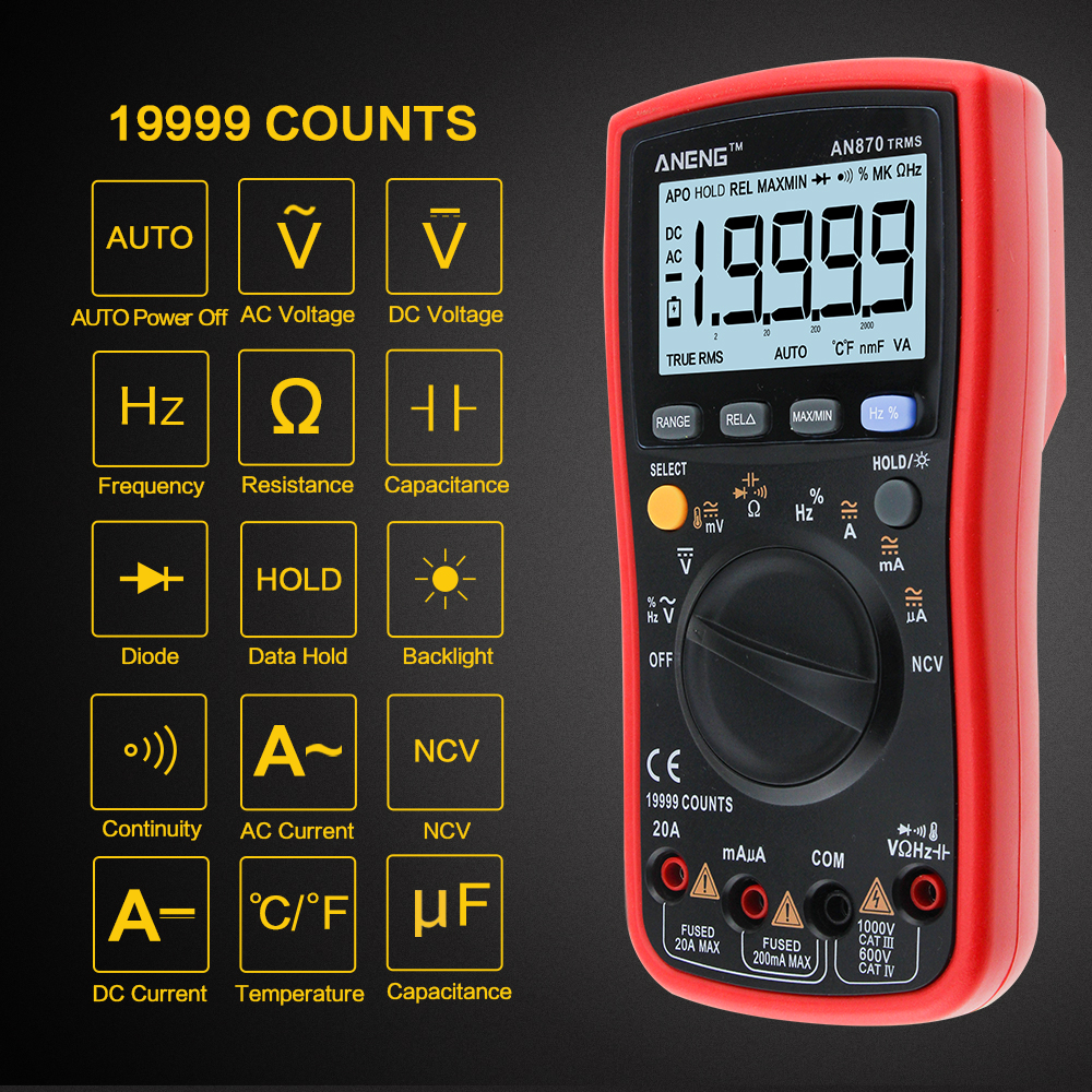 AN870 Авто Диапазон Цифровой точность мультиметр True-rms 19999 отсчетов НТС Омметр AC/DC Напряжение Амперметр Транзистор тестер