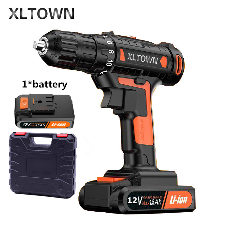 цена на Xltown 12v High-end Mini Drill Rechargeable Lithium Battery Electric Screwdriver Large Torque Household Drill Power Tools
