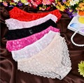 Hot Women Sexy Full Lace Panties S-XL Size European size Mid Rise Bowknot Briefs Underwear , Exotic Summer Transparent Intimates