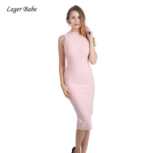 49bae39d8ee8f US $25.84 29% OFF|Leger Babe 2019 Elegant Women Celebrity Evening Party  Bandage Dresses Bodycon Pink New Summer Turtleneck Sleeveless Midi Dress-in  ...