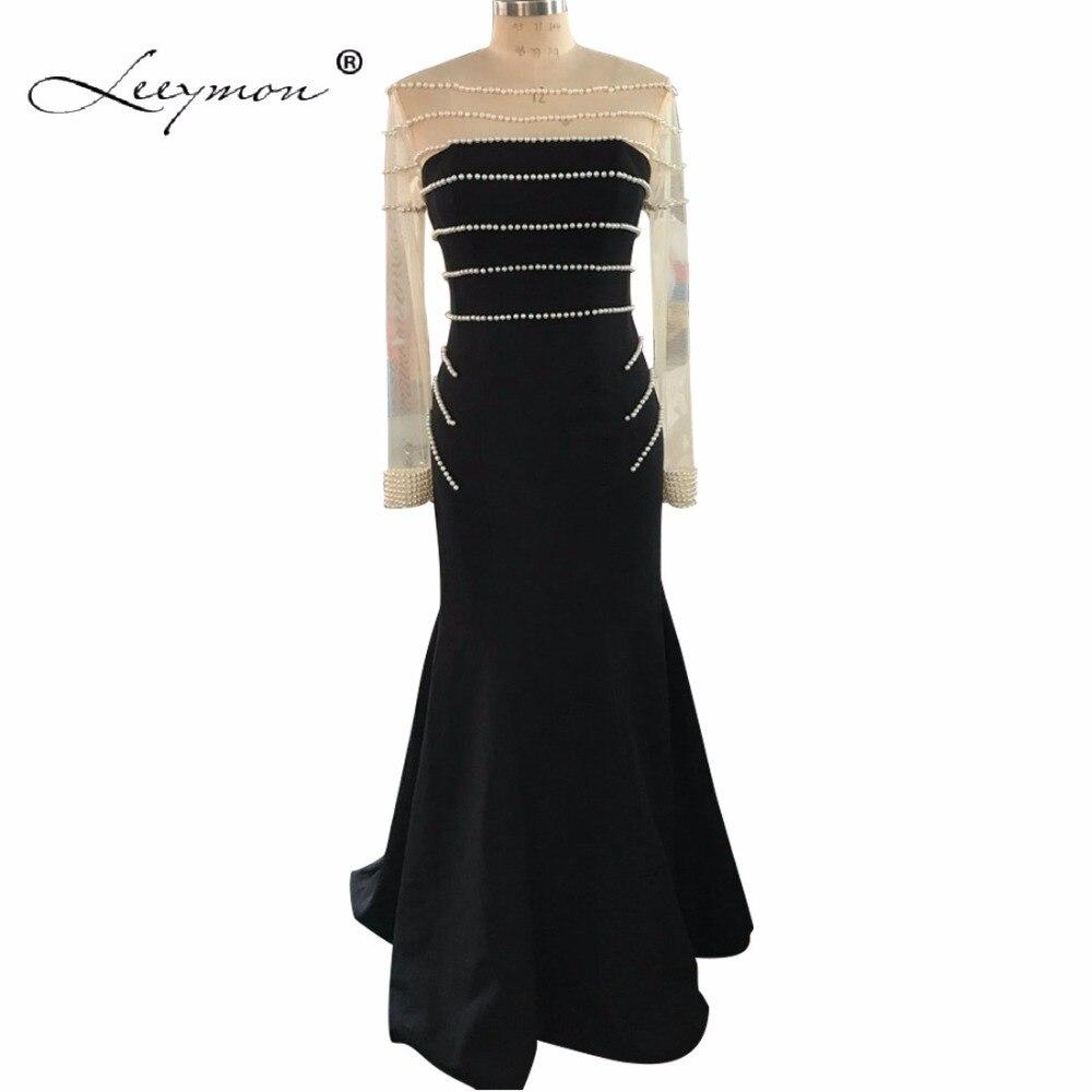 Leeymon Long Sleeves Schwarz Abendkleid 2017 Meerjungfrau Crepe Abendkleid Real Sample Vestidos de Gala LY7252