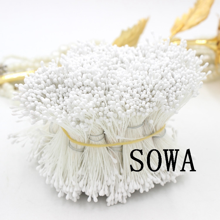 Free Shipping 1800pcs 3Length 1.5mm White Matte Stamen Double heads Strong Stem Flower Cake Stamens For Wedding Decoration