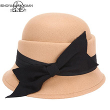 BINGYUANHAOXUAN Womens 2018 Hat with Bowknot Casual Retro Wool Felted Floppy New